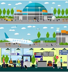 People in airport flat set vector