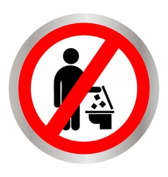 do not Throw trash in the Toilet vector image