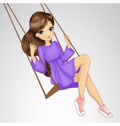 Romantic girl riding on swing vector