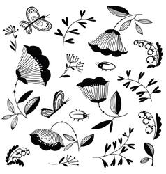 Doodle floral decorative design elements set vector