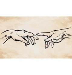 God and adams hands vector