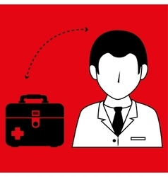 Doctor wtih first aid kit isolated icon design vector