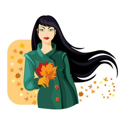 autumn lady vector image vector image