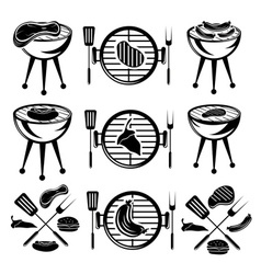 Bbq set of meathot dog and burger vector