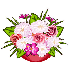 Beautiful pot of pink and white flowers vector