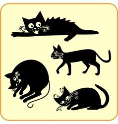 Black cats - set Vinyl-ready EPS vector image vector image
