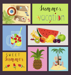 cards with summer elements vector image vector image