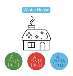 christmas house with smoking chimney vector image
