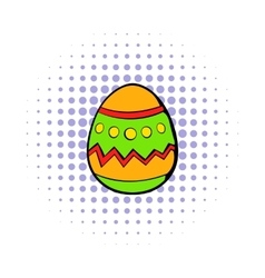 Colorful easter egg icon comics style vector image