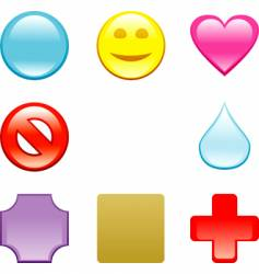 glass color icons vector image vector image
