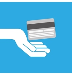 Hand hold icon credit card design flat isolated vector