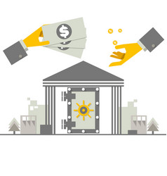 Investing money concept hand putting money coin vector