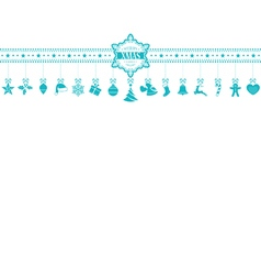 Light blue christmas ornament banner with vector