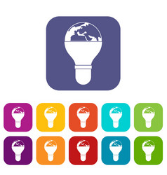 Light bulb and planet earth icons set flat vector