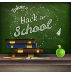 School books and apple against blackboard eps 10 vector