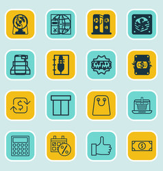 set of 16 commerce icons includes recurring vector image vector image