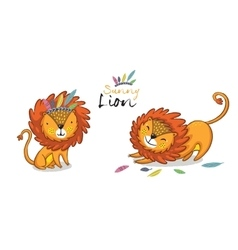 Sunny lion set king of the jungle animal vector