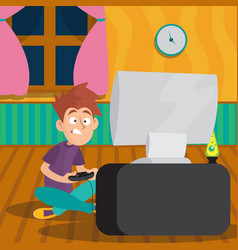 Teenager boy playing in video game at room vector