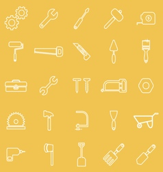 Tool line icons on yellow background vector image vector image