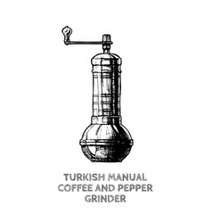 Turkish coffee and pepper grinder vector