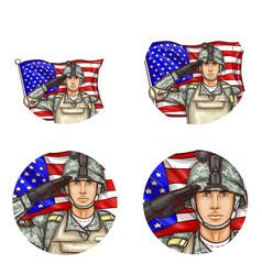 Us flag salute soldier pop art avatar icon vector