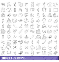 100 class icons set outline style vector