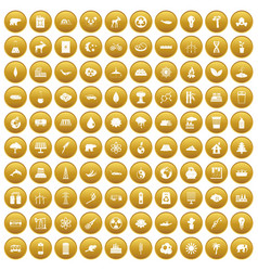 100 eco icons set gold vector