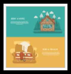 Mountain lodge and rv trailer banners vector