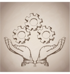 Hand gears business icon vector