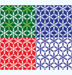Set of 4 snowflakes seamless patterns vector image