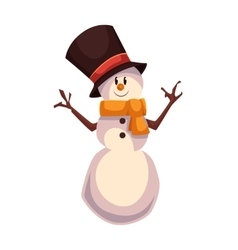 Happy snowman in a black cylinder and orange scarf vector