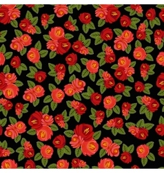 Beautiful seamless pattern with red roses on black vector image