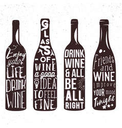 Typography set of wine bottle silhouette with vector