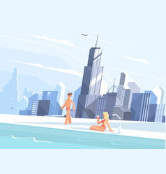 swimming pool on roof of skyscraper vector image