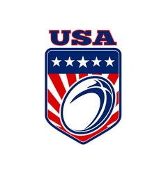 Usa rugby ball stars stripes shield vector