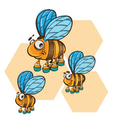 friendly cute bee flying and smiling vector image
