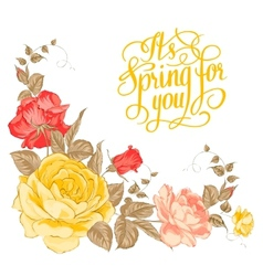 Spring for you calligraphic text vector