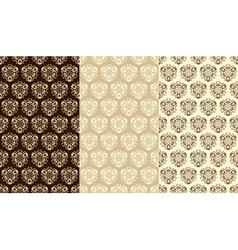 Three sandy brown seamless patterns vector