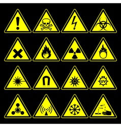 Hazard symbols and signs collection vector