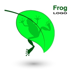 Logo with a frog on a bright green leaf vector