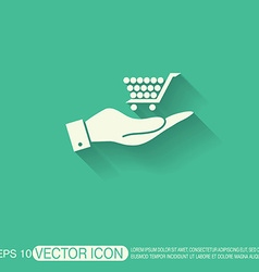 Hand holding a shopping cart online store vector