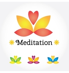 Meditation yoga sign lotus flower in different vector