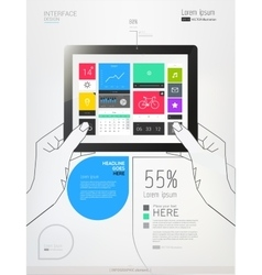 Hands holding a tablet with interface template vector