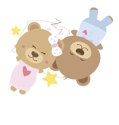 Love concept of couple teddy bear doll vector