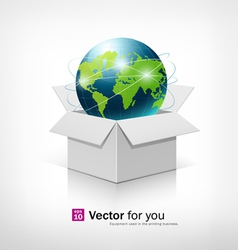 Globe on open white box vector