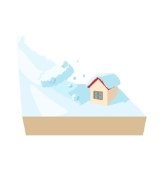 House hit by avalanche icon cartoon style vector