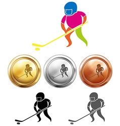Sport icon design for ice hockey on medals vector