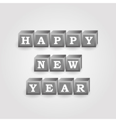 Happy new year message from gray bricks with vector