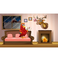 A parrot holding a book beside a fireplace vector image vector image