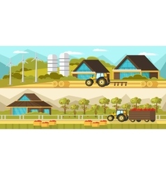 Agricultural horizontal banners vector